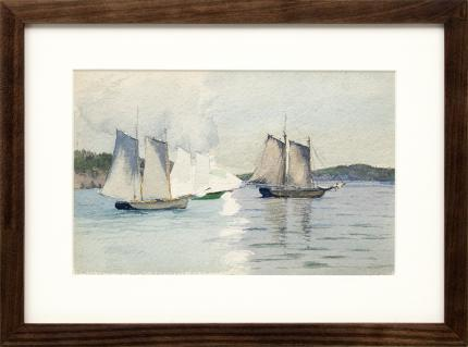 "Charles Partridge Adams, ""Untitled (Sailboats)"", watercolor, circa 1920, vintage painting for sale, california art, plein air, marine, coastal, landscape, pale blue, green, white, gray"