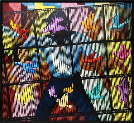 Angelo Di Benedetto, Birdcage, oil painting, for sale, 1957, midcentury, mid-century, modern, art, red, yellow, blue, black, pink, purple, turquoise, brown
