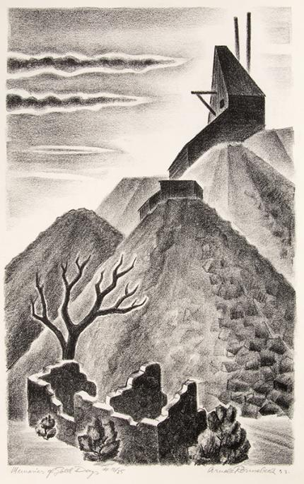 Arnold Ronnebeck, Memories of Gold Days (Old Mine Ruins, Colorado), lithograph, 1933, vintage, art for sale, wpa era, mining, mountain landscape, black, white, ghost town