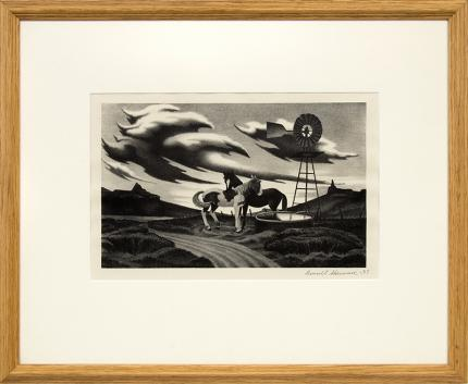 """James Russell Sherman, """"Untitled (Modernist Farm Landscape with Windmill & Horses Watering)"""", lithograph, 1937, wpa era art for sale, american scene, regionalism, black and white"""