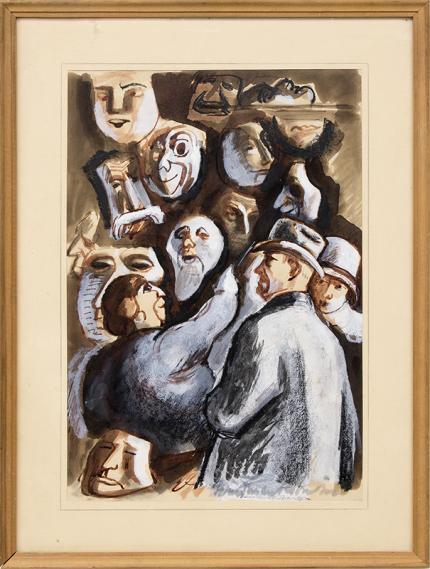"""Boardman Robinson, """"The Vendor of Masques"""", gouache, circa 1930, masks, circus, colorado springs, broadmoor academy, colorado springs fine arts center, vintage art for sale"""