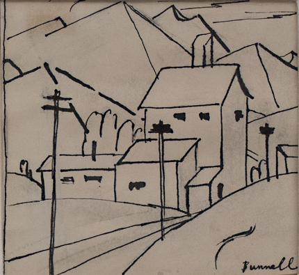 "Charles Ragland Bunnell, ""Untitled (Study of a Mountain Town)"", mixed media, c. 1935 painting fine art for sale purchase buy sell auction consign denver colorado art gallery museum"