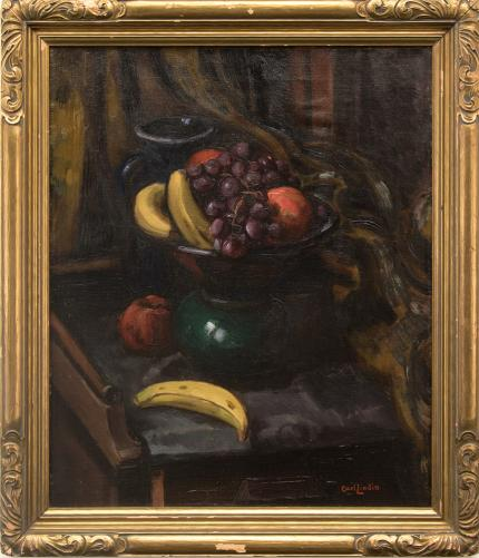 "Carl Eric Olaf Lindin, ""Still Life (with Bananas)"", oil, c. 1925 for sale purchase consign auction denver Colorado art gallery museum"