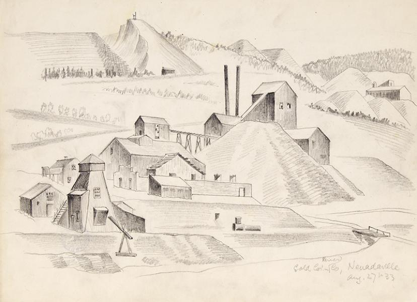 Arnold Ronnebeck original vintage signed drawing Gold Coin Mines Company, Nevadaville, Colorado