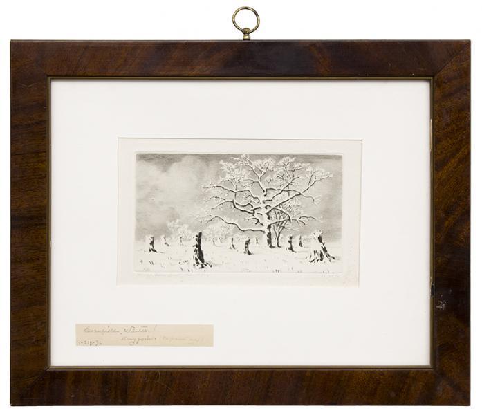 George elbert burr winter trees landscape original drypoint etching signed