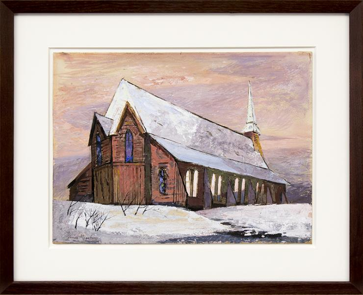 Jenne Magafan, The Church, Colorado, Winter Landscape with Snow, painting, for sale, vintage, wpa era, gouache, circa 1938, 1930s, colorado, woman artist, women, female, twin, red, brown, white, blue, orange, yellow, gray