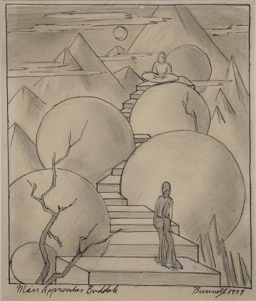 charles bunnell man approaches buddha buddah charlie broadmoor art academy wpa era modernist colorado springs