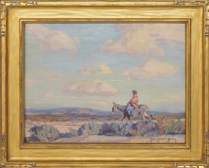 Carl Oscar Borg, vintage original oil painting, The Squaw, Chinle, Arizona, Native American Woman on Horseback in a Desert Landscape, 1920
