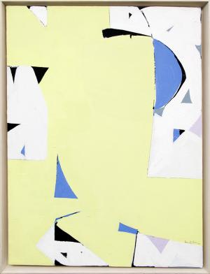 "Beatrice Mandelman, ""Yellow Sun"", acrylic, circa 1975, bea mandelman abstract painting for sale, woman artist, new mexico, mid-century modern art, yellow, blue, white, black"