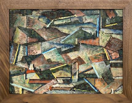 Charles Bunnell, oil painting for sale, Abstract Mountain Mining Town, oil, 1954, mid-century modern, broadmoor art academy, colorado springs