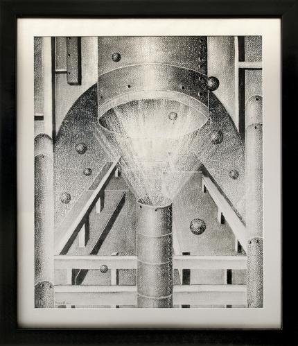 Charles Bunnell, vintage drawing for sale, Untitled, Black & Blue Series, mixed media, 1941, wpa era, industrial art, broadmoor academy, ragland