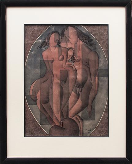 Charles Bunnell, vintage painting for sale, Family, Semi-Abstract Nudes,1944, cubist, man, woman
