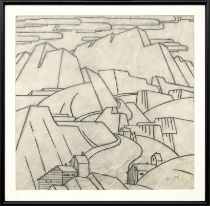 Charles Bunnell, Mine in the Mountains, Colorado, vintage landscape art for sale, graphite, circa 1935, broadmoor academy
