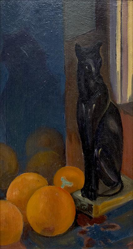 Margaret Tee, Still Life With Objects, oil painting circa 1930 for sale, framed still life oil painting, framed vintage painting of black cat, framed still life portrait