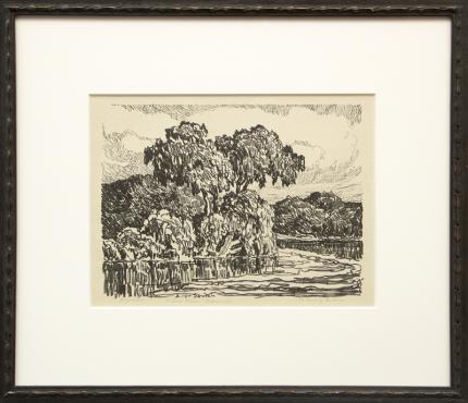 """Sven Birger Sandzen, """"The Bend of the River; edition of 100"""", lithograph, 1923 for sale purchase consign auction denver Colorado art gallery museum"""