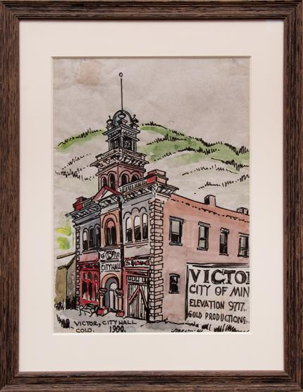 """Muriel Sibell Wolle, """"Victor, Colorado"""", watercolor, 1941 for sale purchase consign auction denver Colorado art gallery museum"""