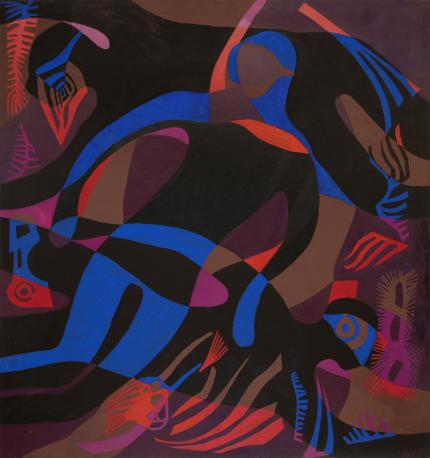 """Margo Hoff, """"Dark Divers"""", mixed media, circa 1985 painting for sale purchase auction consign denver colorado art gallery museum"""