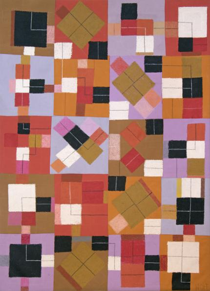 """Margo Hoff, """"Squared Line"""", mixed media, circa 1970 abstract painting fine art for sale purchase buy sell auction consign denver colorado art gallery museum"""