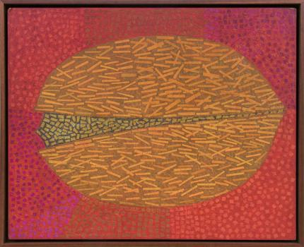"""Margo Hoff, """"Untitled (Pistachio)"""", mixed media, circa 1970 painting fine art for sale purchase buy sell auction consign denver colorado art gallery museum"""