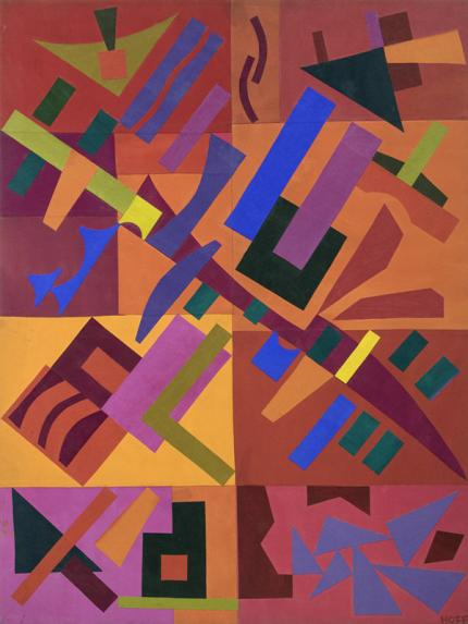 """Margo Hoff, """"Celebration 1984"""", acrylic, 1984 abstract painting fine art for sale purchase buy sell auction consign denver colorado art gallery museum"""