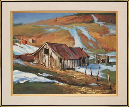 """Ruth Wahl, """"Untitled (Barn in Winter)"""", oil painting fine art for sale purchase buy sell auction consign denver colorado art gallery museum"""