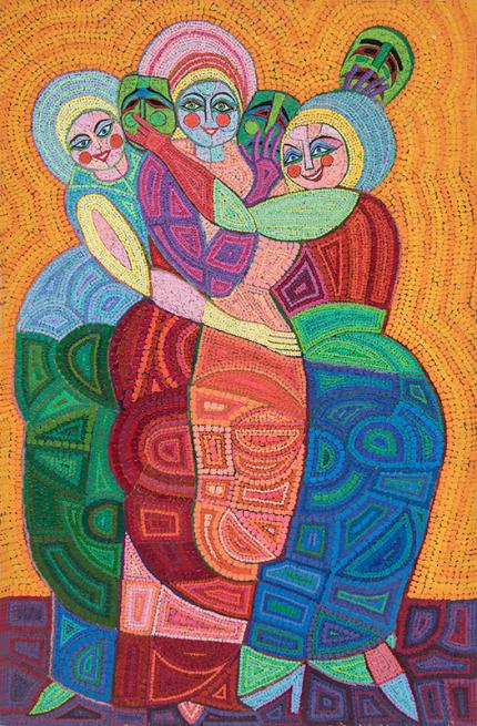 """Edward Marecak, """"Behind The Masks"""", vintage oil painting for sale, circa 1990s, denver, modernist, abstract, figurative, female figures, women, orange, red, green, yellow, blue"""