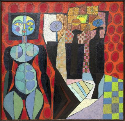 """Edward Marecak, """"Witch with Still Life"""", oil painting for sale, vintage, abstract, cubist, circa 1960s, mid-century modern, midcentury modern, midmod"""