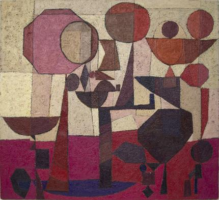 """Edward Marecak, """"Under the Sun, All the World is Equal"""", oi painting for sale, abstract, 1970, mid-century modern, vintage, red, fuchsia, purple, ivory, white, cream, orange"""