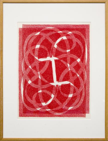 "Margo Hoff, ""White Line - Red (Variation 2)"", vintage abstract art for sale, serigraph, silkscreen, woman artist, chicago, painting"