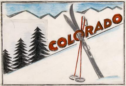 Arnold Ronnebeck, colorado skiing, vintage painting for sale, circa 1933, illustration art, snow, pine trees, ski art