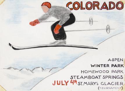 "Arnold Ronnebeck, ""Colorado Ski Jumper"", vintage ski art for sale, circa 1930s, winter sports tourism, Aspen, Winter Park, Steamboat Springs, Homewood Park, St. Mary's Glacier."