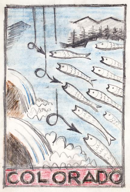 """Arnold Ronnebeck, """"Colorado Fishing #2"""", painting for sale, circa 1933, Vintage illustration art for Colorado tourism, Fishing, Colored pencil and graphite"""