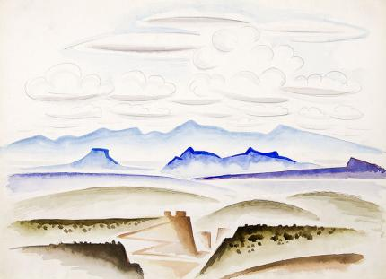 """Arnold Ronnebeck original vintage watercolor painting """"Northern New Mexico Landscape"""", watercolor, circa 1927"""