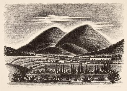 """Arnold Ronnebeck, """"El Monte Sol, Santa Fe, New Mexico"""", vintage lithograph for sale, 1927, print, black and white, mountain, adobe"""