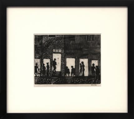 "Hilaire Hiler, art for sale, ""Night Life, Paris, France"", woodcut, Woodblock, print, circa 1928, vintage, signed, framed, black and white"