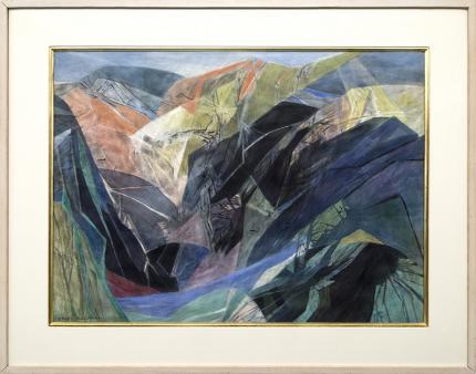 "Ethel Magafan vintage painting for sale, ""Through the Canyon"" Colorado Mountain Landscape, watercolor, circa 1960-1970, broadmoor academy, green, blue, orange, red"