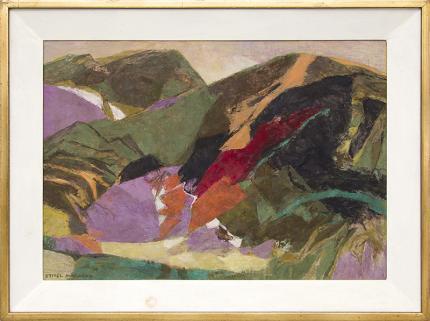 "Ethel Magafan, ""Hidden Meadow (Colorado Mountain Landscape)"", semi-abstract landscape painting, tempera, 1979"