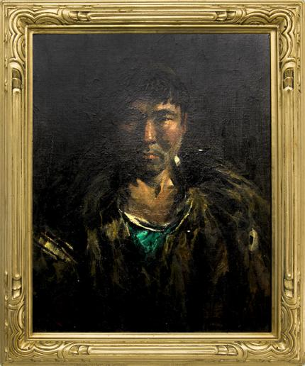 "Eustace Paul Ziegler, ""Chief Gootleta, Chitina, Near Cordova (Alaska)"", oil painting for sale, portrait, Eskimo, Inuit, native american"
