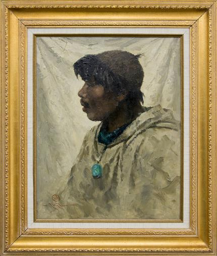 "Eustace Paul Ziegler, ""King Island Eskimo"", oil painting for sale, native american indian portrait, inuit, vintage"