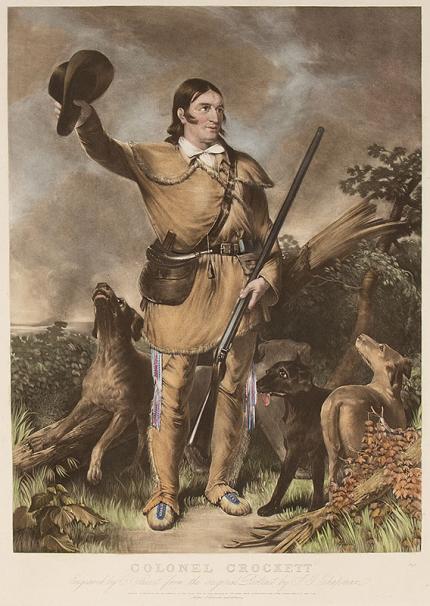 "John Gadsby Chapman, ""Colonel Crockett (Davy Crockett)"", engraving, circa 1940 (from the original 1839 plate) vintage print for sale"