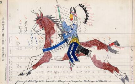 "James Black, ledger art, drawing, ""Cheyenne Warrior on Horseback with Horned Bonnet"", 2020, contemporary native american art for sale"