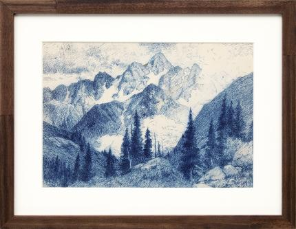 Charles Partridge Adams, Clouds in the Rocky Mountains, Colorado, landscape, painting for sale, drawing, ink, early 20th century