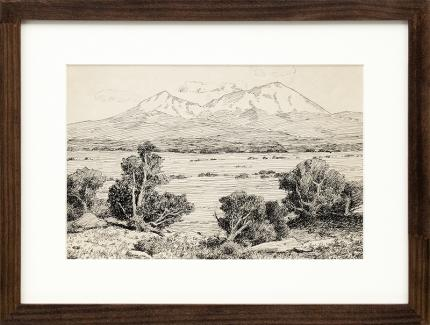Charles Partridge Adams, Spanish Peaks, Colorado, landscape, ink, drawing, painting,  early 20th century, black and white, trees, mountain
