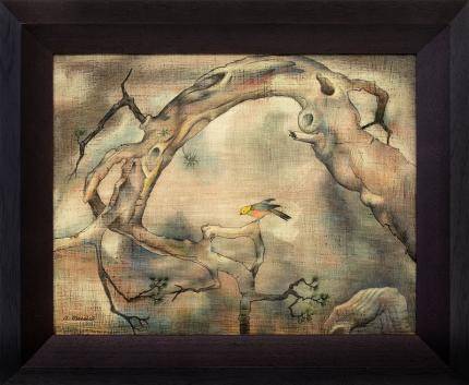 """Archie Musick, """"Titwillow, Surrealist Bird and Tree, oil painting, circa 1940s, modernism, surrealism, broadmoor academy, vintage art for sale"""