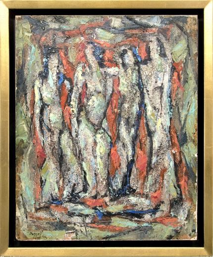 Charles Bunnell, semi Abstract painting for sale, Four Nudes, oil, 1956, mid century modern art